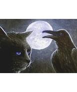 ACEO art print Cat #188 crow raven by L. Dumas - $4.99