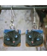 Handmade Glass Earrings square 20mm black Cat 4... - $12.00