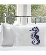 One Navy Blue Sea Horse White Nautical Pillowca... - $15.98