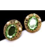 Vintage West Germany Earrings Filigree Green Rh... - $27.71