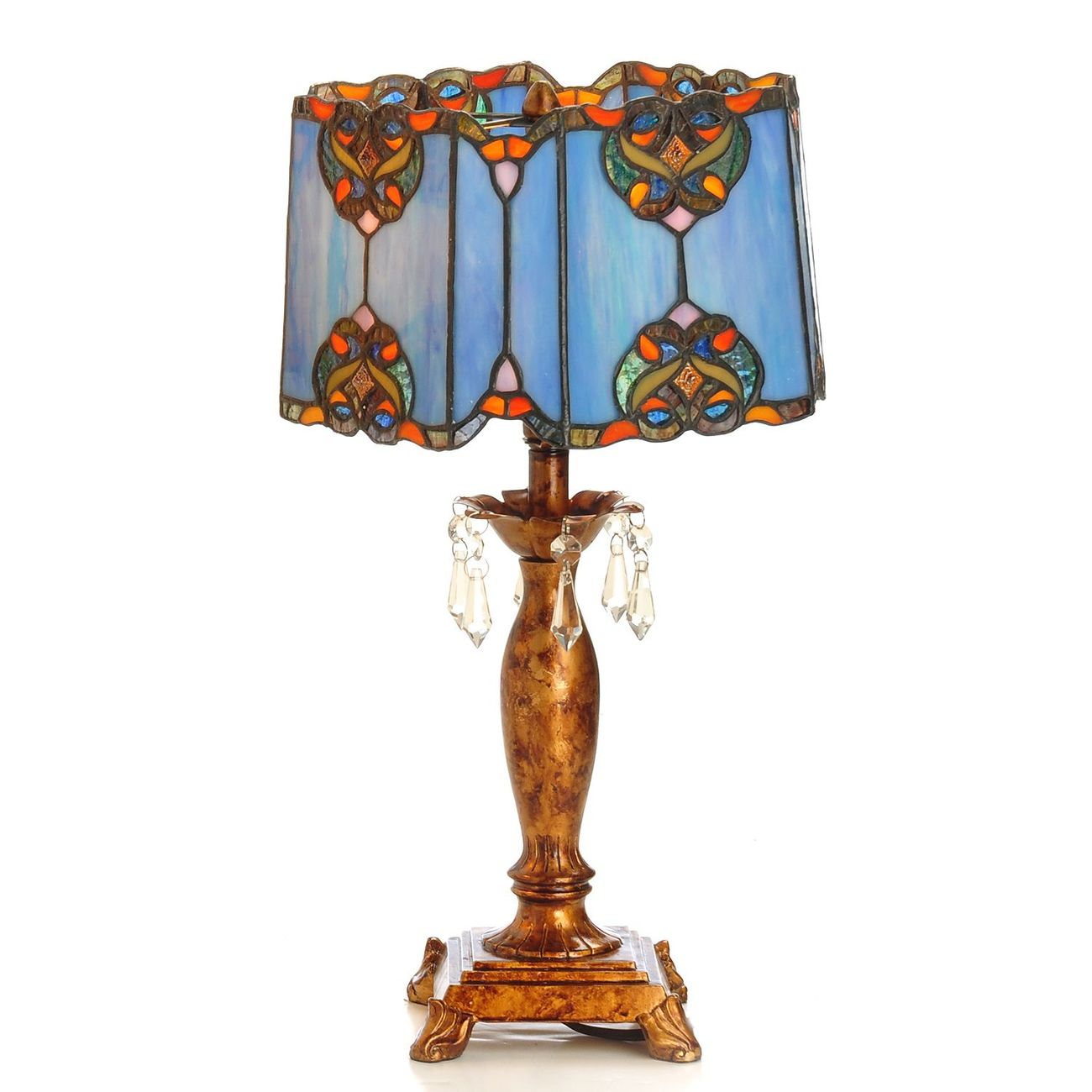Tiffany Style 18  Touch of Elegance Stained Glass Table Lamp   Blue