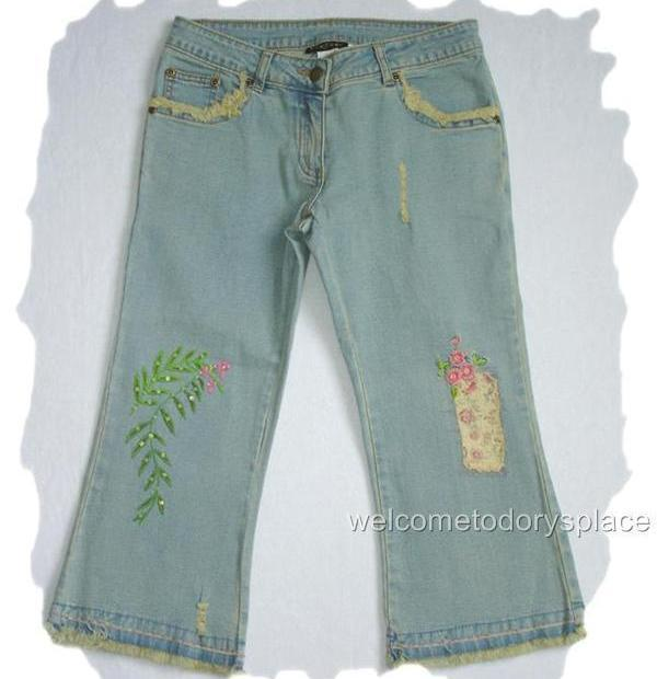 HANNAH BANANA Green Leaf Capri Girls Cropped Jeans BOUTIQUE 14 Brand NEW