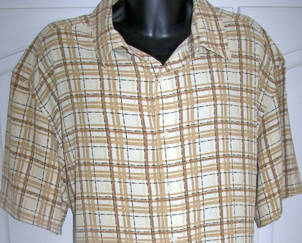 Men Geoffrey Beene Camp Shirt Cuban Syle Shirt NEW LG
