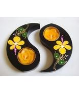 Ying Yin Yang Thai Mango Wood Flower Crystal Ca... - $15.00