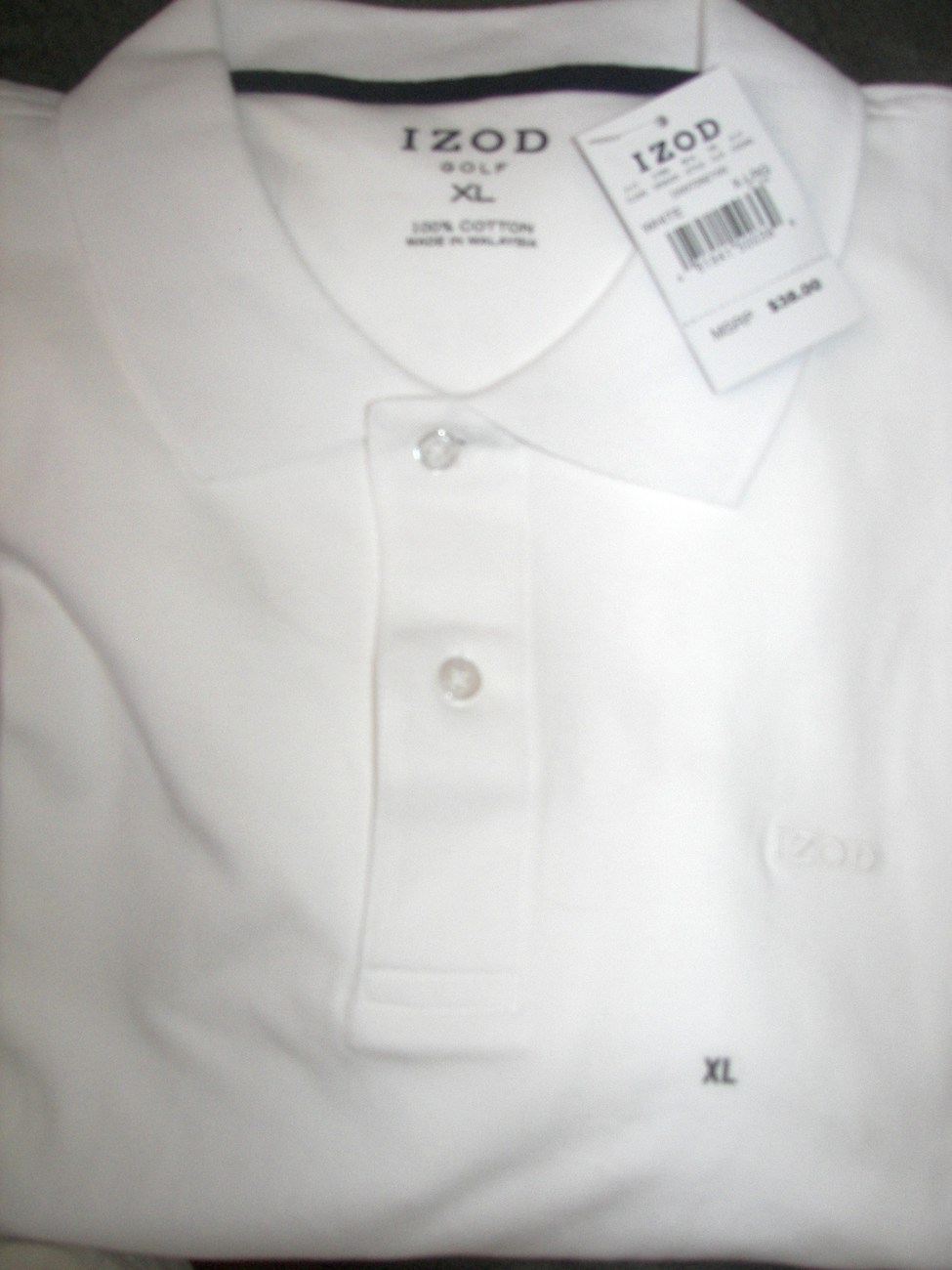 Mens Izod Short Sleeve Golf Polo Shirt White New with Tags X Large
