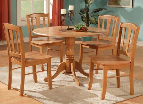 42 Round Dining Drop Leaf Table Solid Wood Dinette Kitchen Room Oak