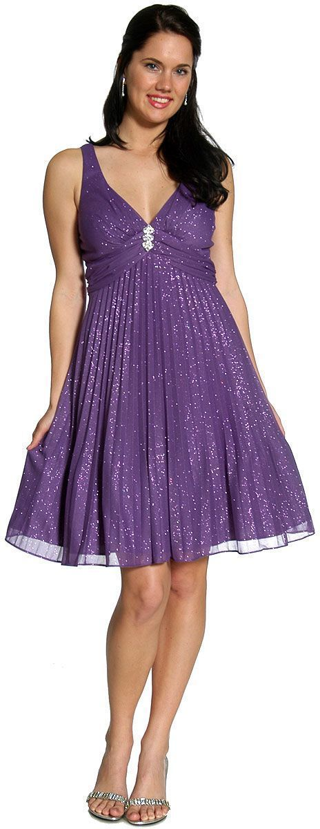 Purple V-Neck Glittered & Pleated Prom Dress