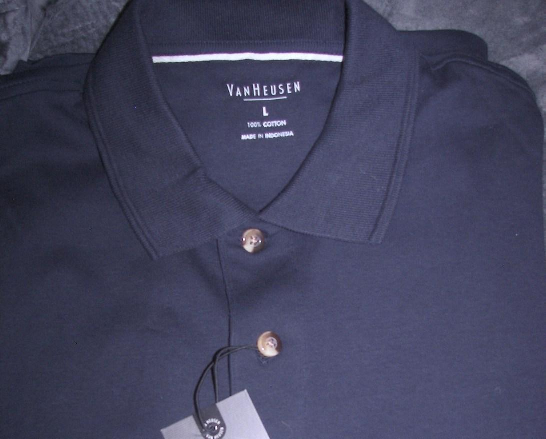 Van Heusen Mens Cotton Golf Polo Navy Short Sleeve Shirt NWT SZ L