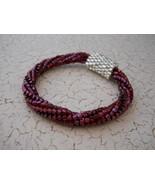 Beaded Bangle Bracelet, Cranberry & Silver; Tub... - $36.00