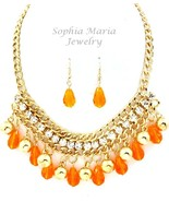 Clear crystal and orange teardrop beads necklac... - $21.06
