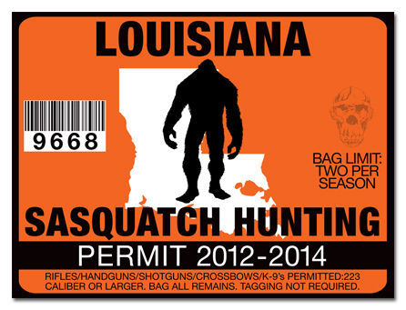 Sasquatch hunting permit license decal sticker cummins for La fishing license