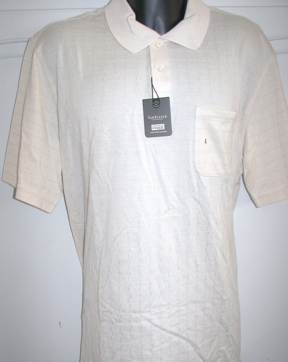Van Heusen Mens Golf Polo Shirt Linen White XL