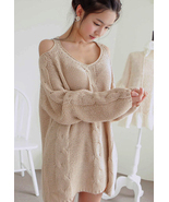 Warm Beige Off The Shoulder Chunky Knitted Swea... - $96.90