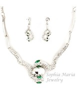 For Reptile lovers necklace set Snake emerald c... - $22.01
