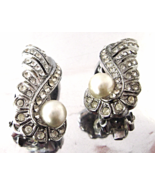 Vintage Tara D&E Clear Rhinestone Pearl Silvert... - $20.00