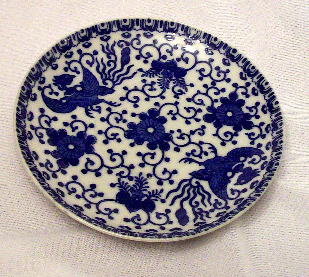 Phoenix Porcelain Plate Made In Japan Flow Blue 6 in Bread P