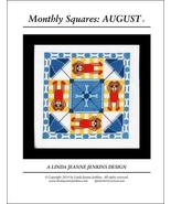 Monthly Squares August cross stitch card chart ... - $6.00