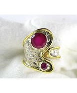 Circles of Ruby with Gold Wash over Sterling Si... - $75.84