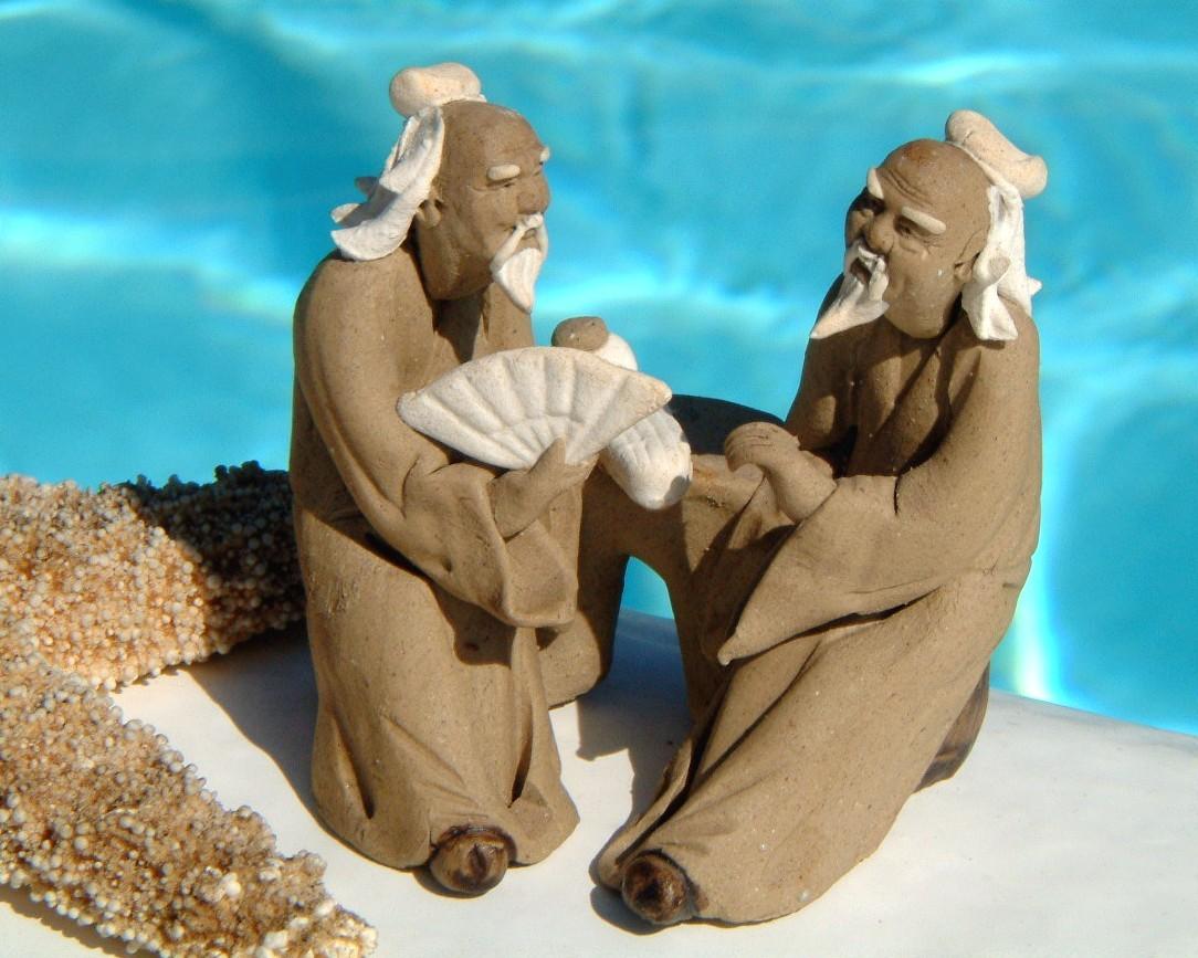 chinese mudmen sculpture miniature hand made clay fan