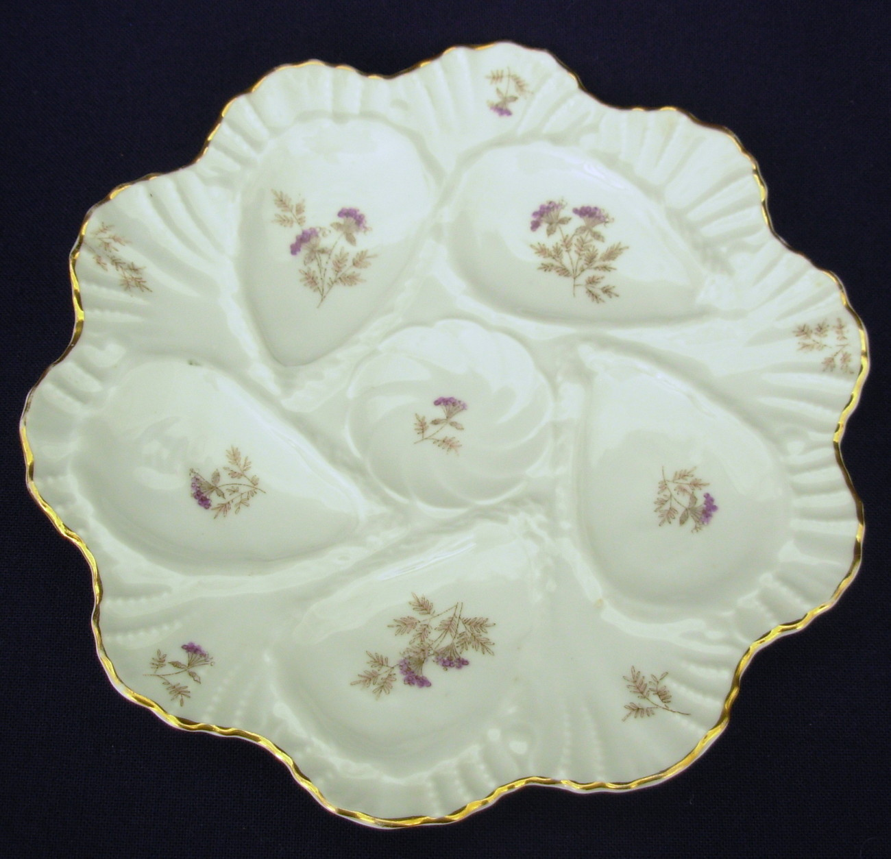 antique 5 well porcelain Oyster Plate White Lavender Floral #2
