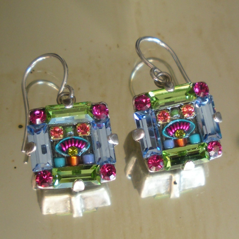 Glass Mosaic Earrings Artisan Crafted