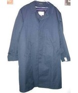 Mens Lined Trench Coat Raincoat  44 R Navy Blue... - $29.95