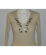 August Silk Jewels And Golden Knit Womans Top S... - $29.00