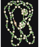Vendome_beaded_necklace_and_earrings_green_and_white_thumbtall