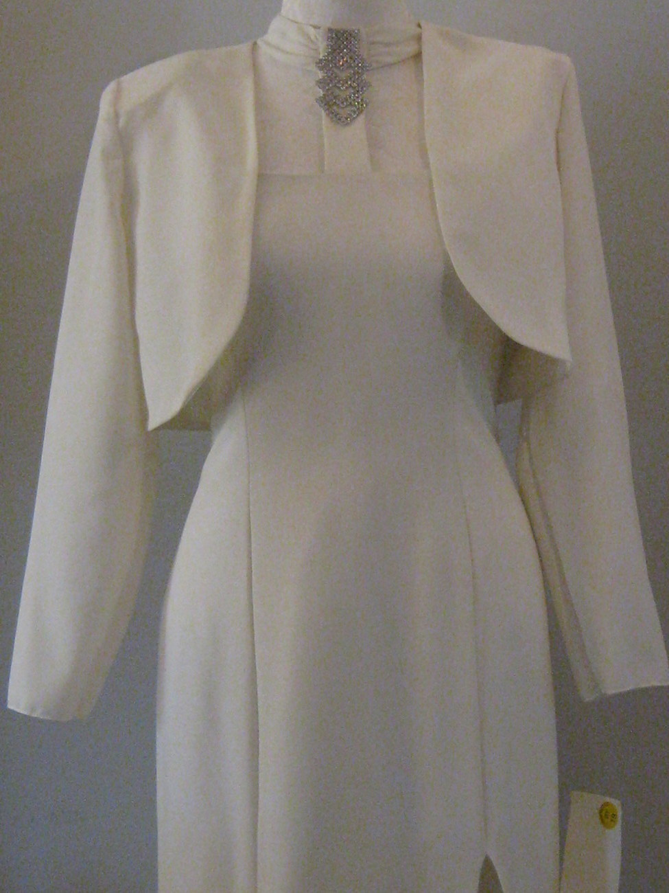 White Gown With Rhinestones  Jacket  Size 11 12
