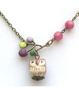 Antiqued Brass Branch Jade Porcelain Owl Neckla... - $13.99