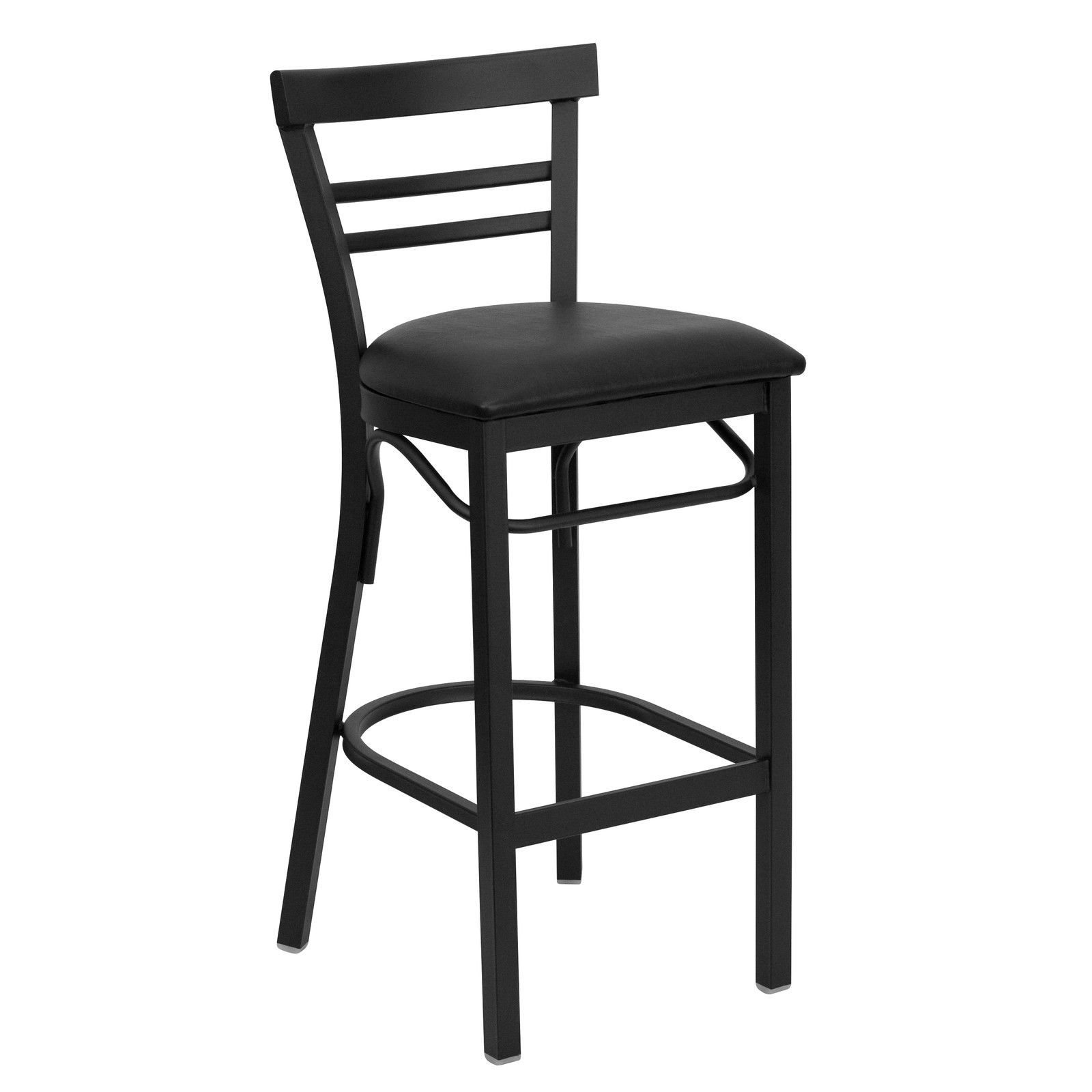 black ladder back metal restaurant bar stool black vinyl seat bar