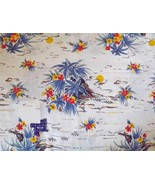 COTTON FABRIC~Hawaiian Floral Palm Trees~Blue Y... - $39.59