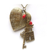 Antiqued Brass Key Lock Red Coral Branch Locket... - $15.99
