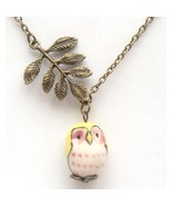 Antiqued Brass Leaf Porcelain Owl Necklace Hand... - $12.99