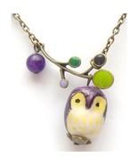 Antiqued Brass Branch Jade Porcelain Owl Neckla... - $13.99