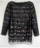 Elie Tahari Black sequin top L Bronze stripes L... - $89.99