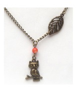 Antiqued Brass Owl Leaf Coral Necklace Handmade... - $12.99