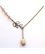 Antiqued Brass Leaf Crystal Porcelain Owl Neckl... - $12.99