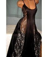Black Silver Lace Panels Long Nightgown 1X Blac... - $23.00
