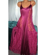 Mansion Plum Nylon Long Nightgown Lace Panels 1... - $23.00