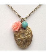 Antiqued Brass Flower Turquoise Locket Necklace... - $13.99