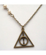 Antiqued Brass Harry Potter Deathly Hallows Pea... - $12.99