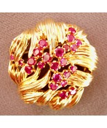 TIFFANY VINTAGE GOLD & 23 RUBIES ART NOUVEAU PIN - $4,158.00