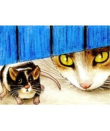 ACEO art print Cat #220 mouse by Lucie Dumas - $4.99