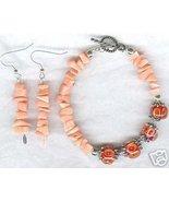 Pink Bamboo Coral Encased Lampwork Bracelet Ear... - $23.99
