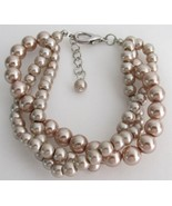 Twisted Three Strand Bracelet Champagne Pearl B... - $14.48