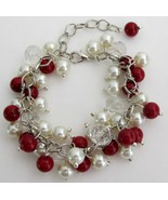 Christmas Holiday Red Ivory Pearls Cluster Clea... - $13.33