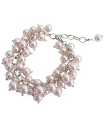 Chunky Cluster Beaded Bracelet In Soft Pink Jew... - $14.48