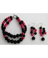 Gorgeous Magenta Black Pearls Bracelet Earrings... - $15.98