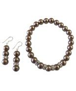 Brown Pearl Jewelry Stretchable Bracelet Earrin... - $14.68
